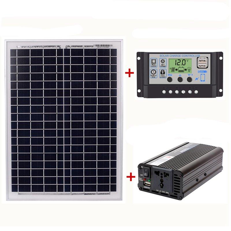 1X(18V20W Panel Solar 12V   24V Controlador 1500W Kit De Inversor Ac220V, Ad Y7)