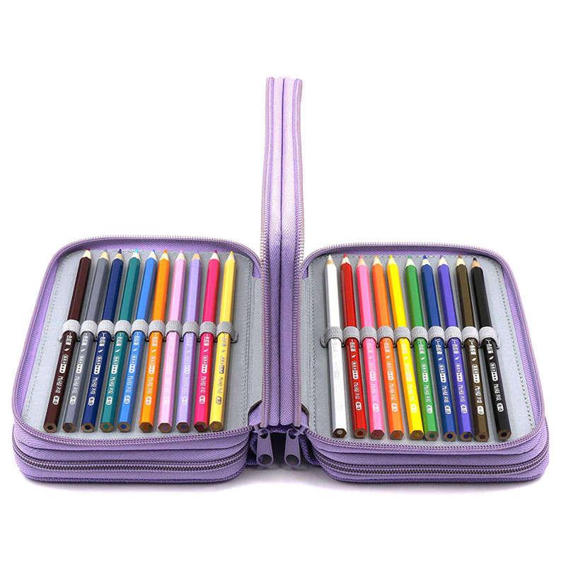 3X-72-Hoyos-4-Capas-Estuche-De-Lapiz-Para-Escuela-Estudiante-Oxford-Bolsa-M-4N7 miniatura 6