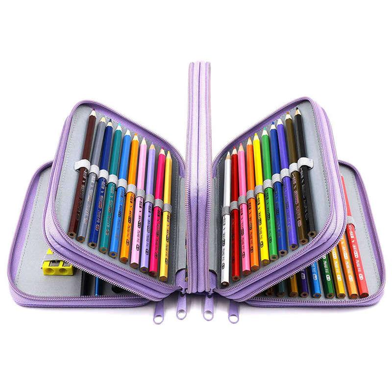 3X-72-Hoyos-4-Capas-Estuche-De-Lapiz-Para-Escuela-Estudiante-Oxford-Bolsa-M-4N7 miniatura 7