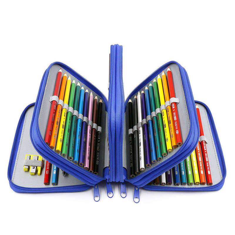 3X-72-Hoyos-4-Capas-Estuche-De-Lapiz-Para-Escuela-Estudiante-Oxford-Bolsa-M-4N7 miniatura 14