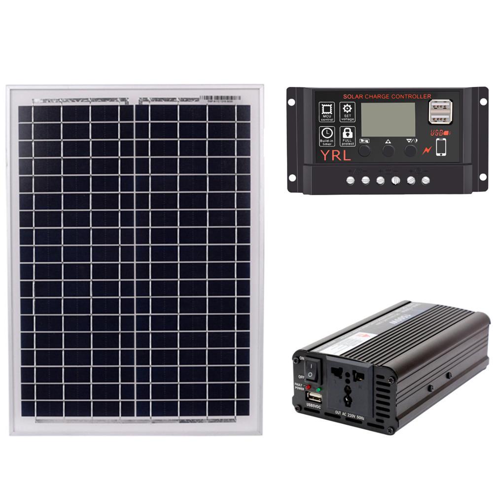 18V20W-Panel-Solar-12V-24V-Controlador-1500W-Kit-De-Inversor-Ac220V-Adec-A2M8 miniatura 2