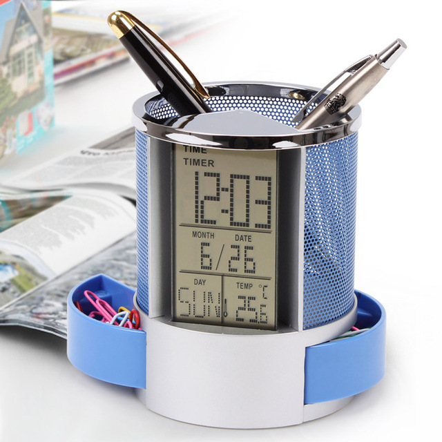 Mesh-Pen-Pencil-Holder-With-Digital-Lcd-Office-Desk-Clock-With-Time-Temp-Ca-L2H4 miniatuur 3