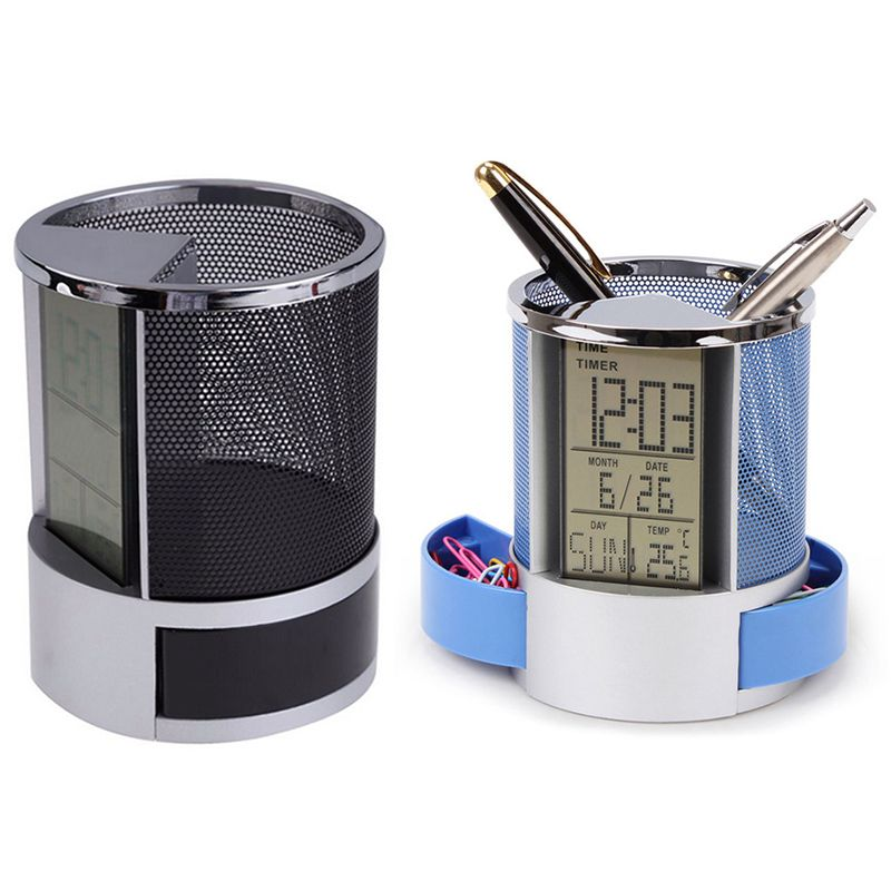 Mesh-Pen-Pencil-Holder-With-Digital-Lcd-Office-Desk-Clock-With-Time-Temp-Ca-L2H4 miniatuur 4