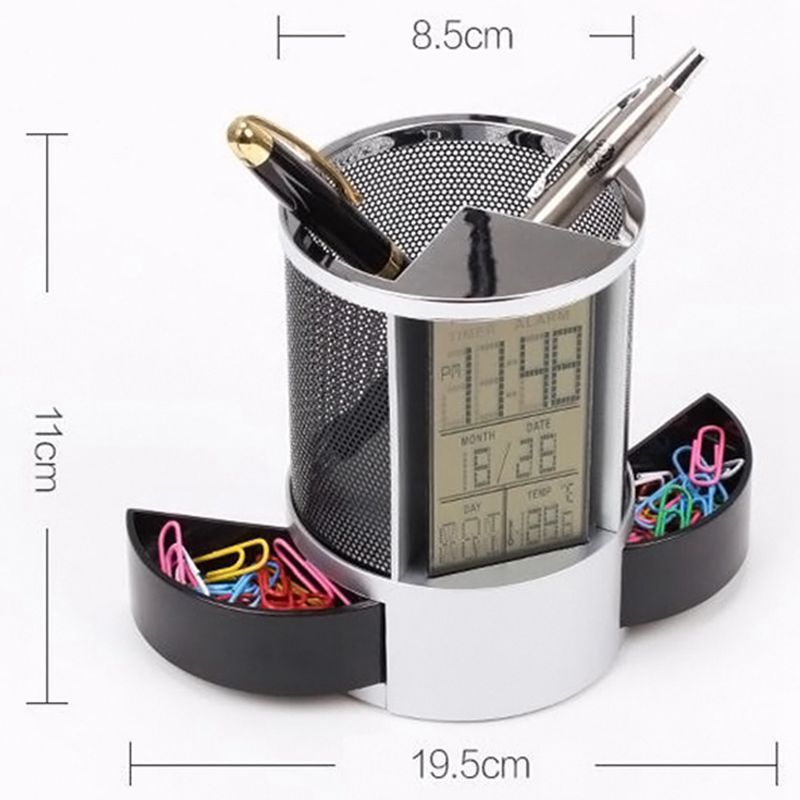 Mesh-Pen-Pencil-Holder-With-Digital-Lcd-Office-Desk-Clock-With-Time-Temp-Ca-L2H4 miniatuur 5