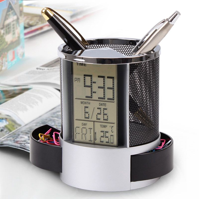 Mesh-Pen-Pencil-Holder-With-Digital-Lcd-Office-Desk-Clock-With-Time-Temp-Ca-L2H4 miniatuur 10
