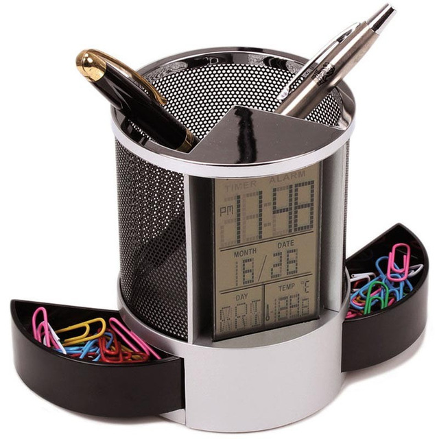 Mesh-Pen-Pencil-Holder-With-Digital-Lcd-Office-Desk-Clock-With-Time-Temp-Ca-L2H4 miniatuur 12