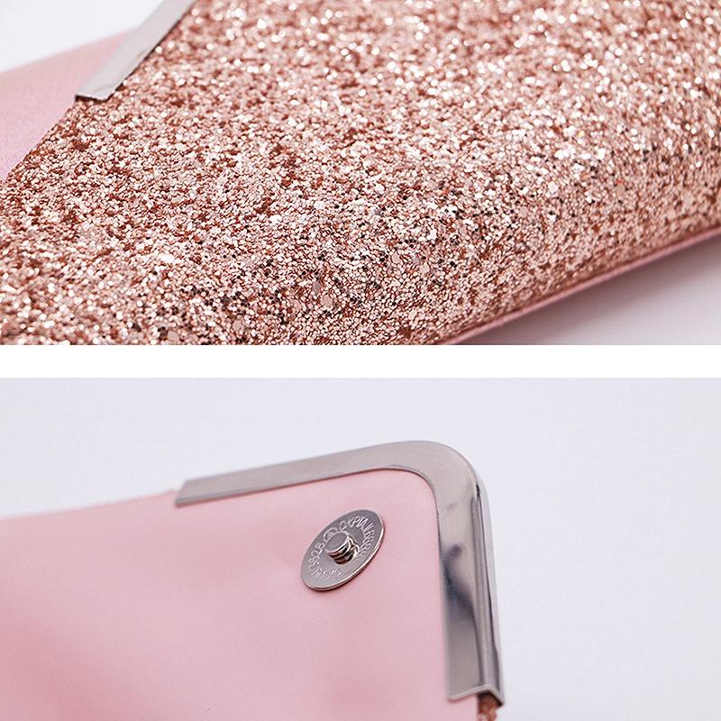 Women-Glittered-Envelope-Clutch-Purse-Evening-Bag-Lustrous-Party-Handbag-Shi-7J3 thumbnail 17