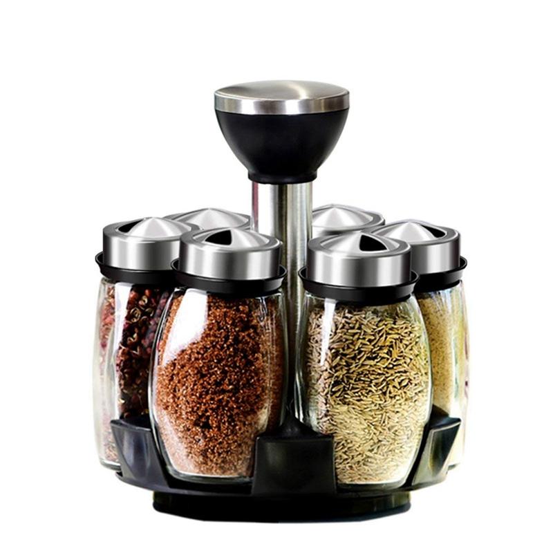 4X(7Pcs Set rougeating Stainless Steel Cruet Condiment Spice Jars Set Salt An O5P2