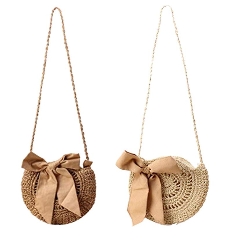 202c36ee5d197 Women Beach Bag Round Straw Crochet Shoulder Summer Bag Purse Q5F9 ...