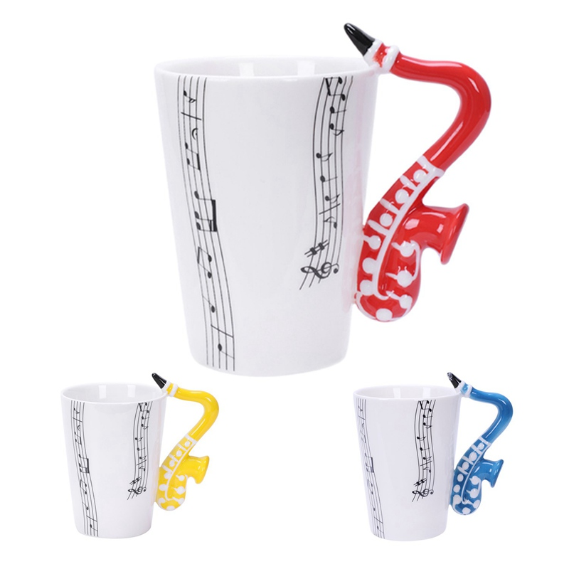 2X-Saxophon-Keramik-Kaffee-Tassen-Porzellan-Milch-Becher-Tee-Schalen-Musik-W5C6 Indexbild 31