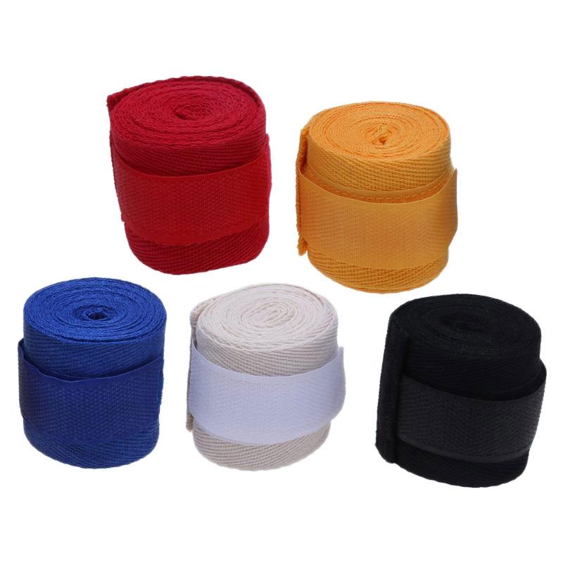 2Pcs Unisex Cotton Strap Boxing Sanda Muay Thai MMA Taekwondo Bandage Hand Wraps