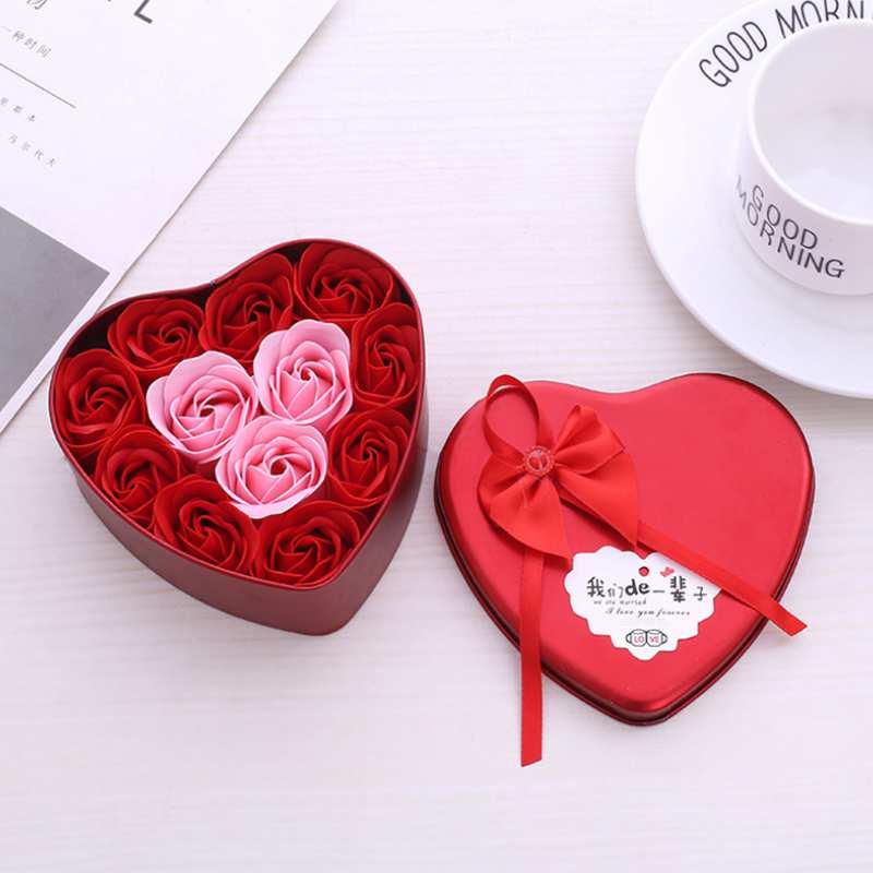 11-Piezas-Caja-Jabon-Rosa-Flor-Artificial-Decoracion-De-La-Boda-Diy-En-For-4M4 miniatura 3