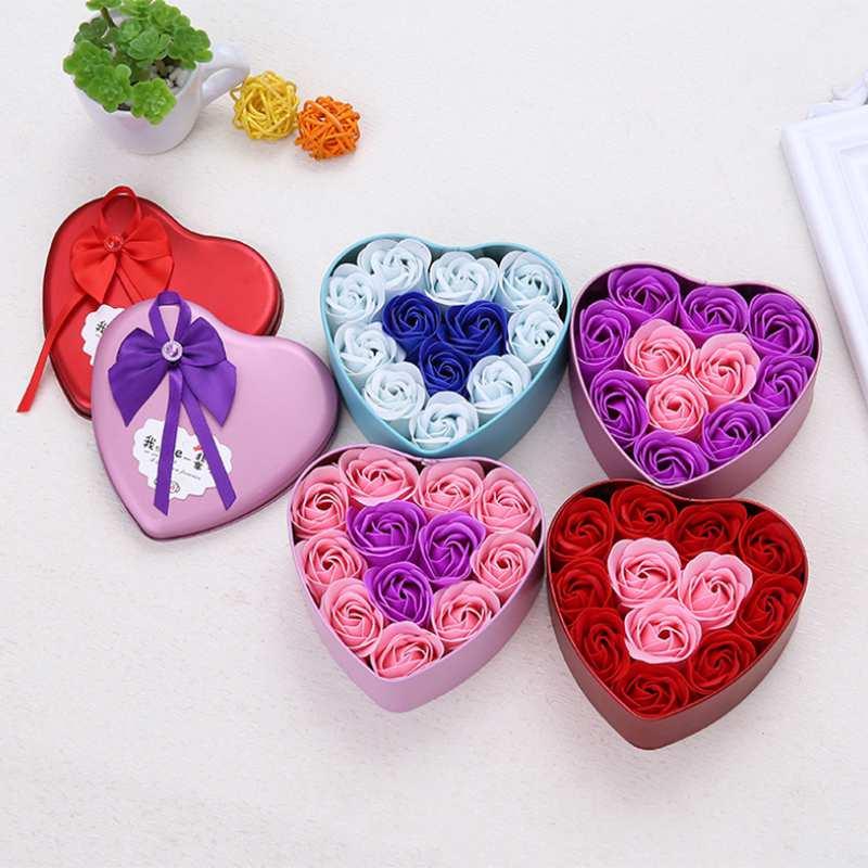 11-Piezas-Caja-Jabon-Rosa-Flor-Artificial-Decoracion-De-La-Boda-Diy-En-For-4M4 miniatura 6