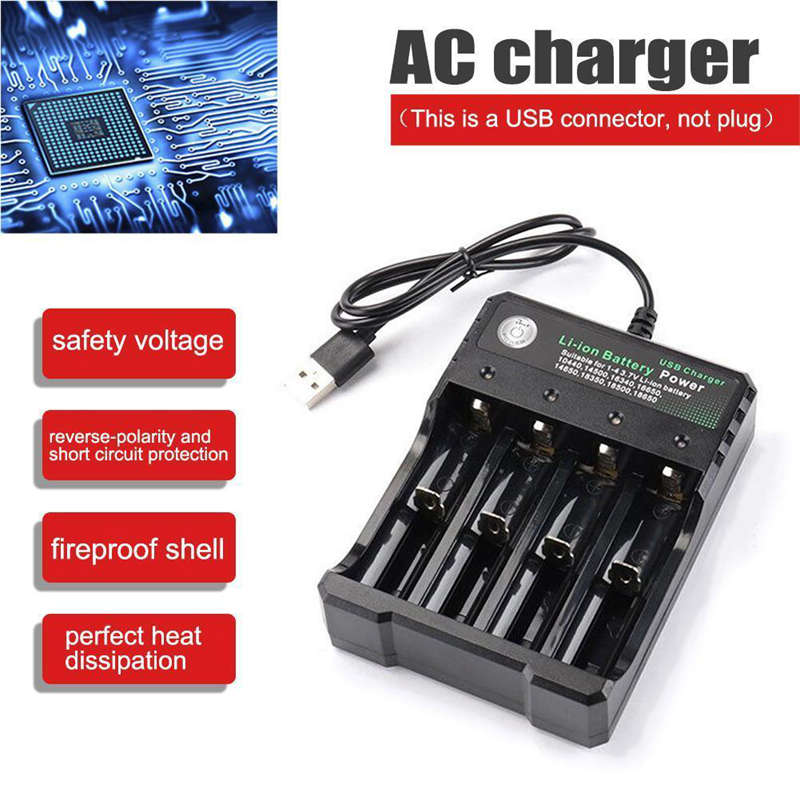 Rechargeable-4-Slot-Battery-Charger-Li-Ion-Usb-Smart-Fast-Charger-For-18350-9E8 thumbnail 5