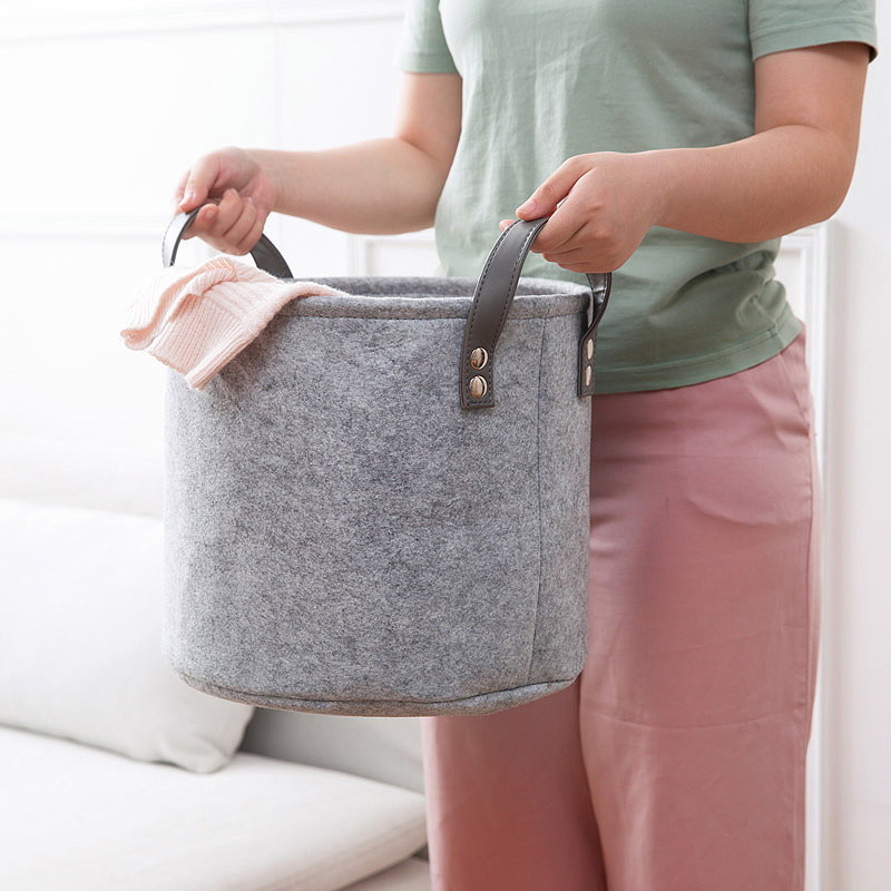 Felt-Material-Cylinder-Sundries-Collect-Storage-Basket-Lightweight-And-Stur-S4G2 thumbnail 4