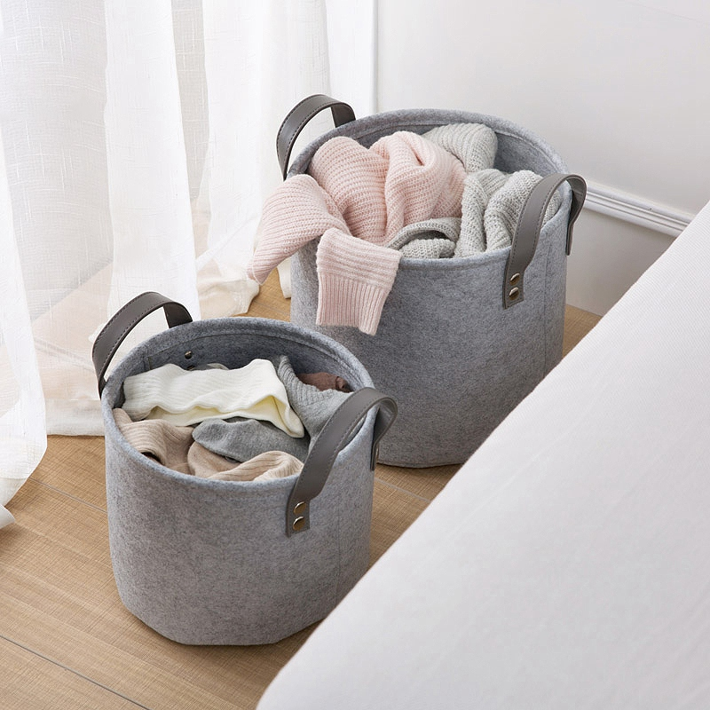 Felt-Material-Cylinder-Sundries-Collect-Storage-Basket-Lightweight-And-Stur-S4G2 thumbnail 6