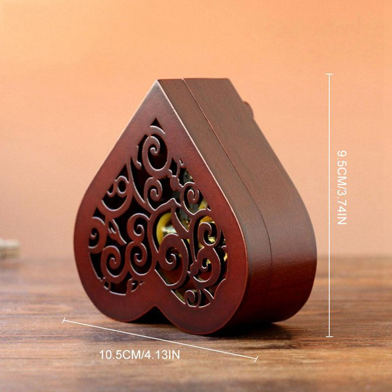 Creative-Heart-Shaped-Vintage-Wood-Carved-Mechanism-Musical-Box-Wind-Up-Mus-V3J8 thumbnail 9