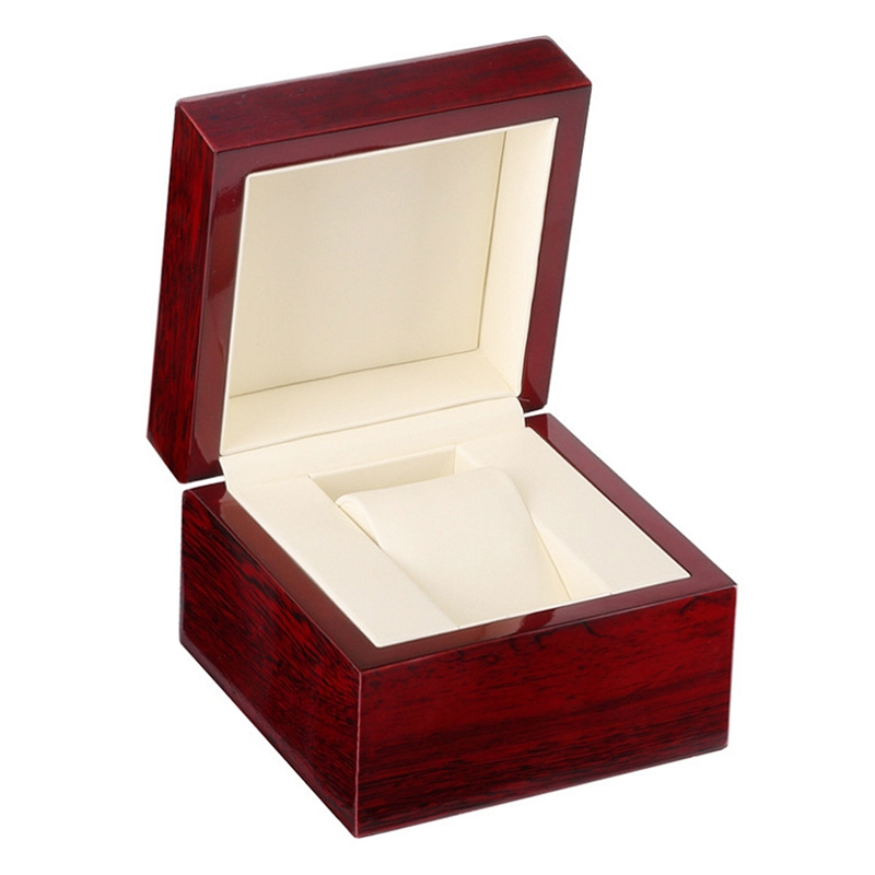 3ed030256 Wooden High-Gloss Paint Solid Wood Single Watch Box Pu Leather Watch ...