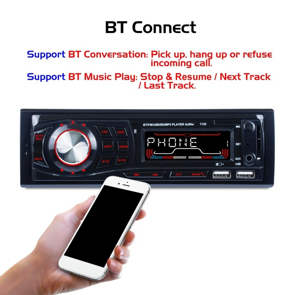 Car Mp3 Player Dc 12-30V 4x60W Smart Bluetooth Auto Audio 2
