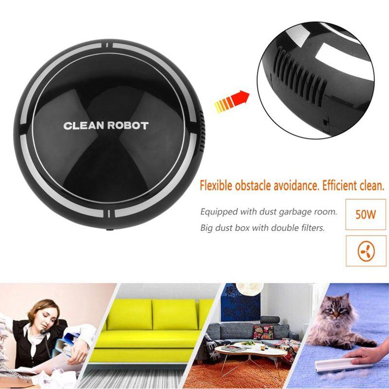 2-en-1-Robot-de-Barrido-de-Piso-Recargable-Colector-de-Polvo-Aspiradora-Robo-3N4 miniatura 7