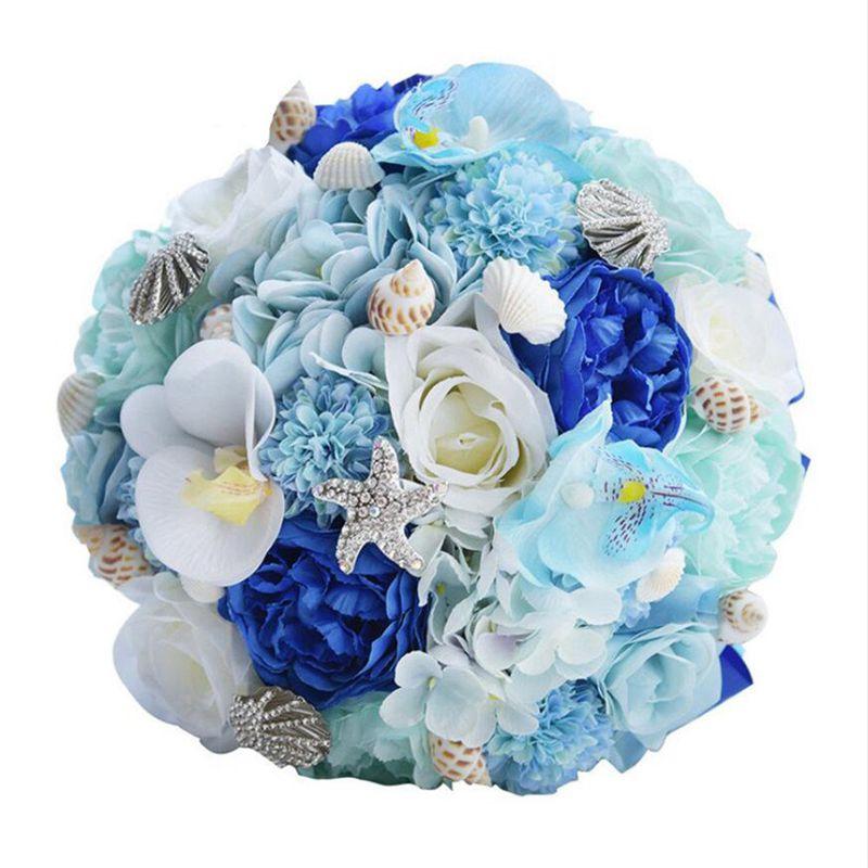 3X (Romantique Mariage Bouquets de mariées, Plage Shell Bleu Artificiel weddingf 8L3