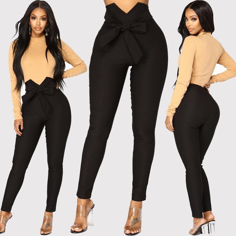 1X-Frauen-Hohe-Taille-Laessig-Hosen-Mode-Damen-Bogenken-Solide-Duenne-Duenn-R5Z2 Indexbild 8