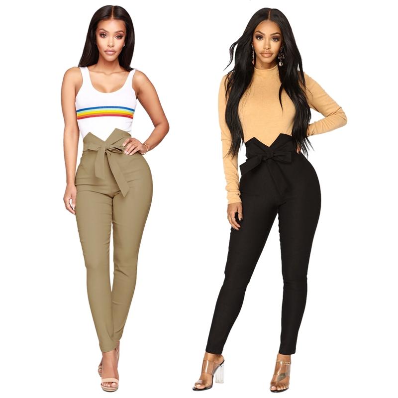1X-Frauen-Hohe-Taille-Laessig-Hosen-Mode-Damen-Bogenken-Solide-Duenne-Duenn-R5Z2 Indexbild 9