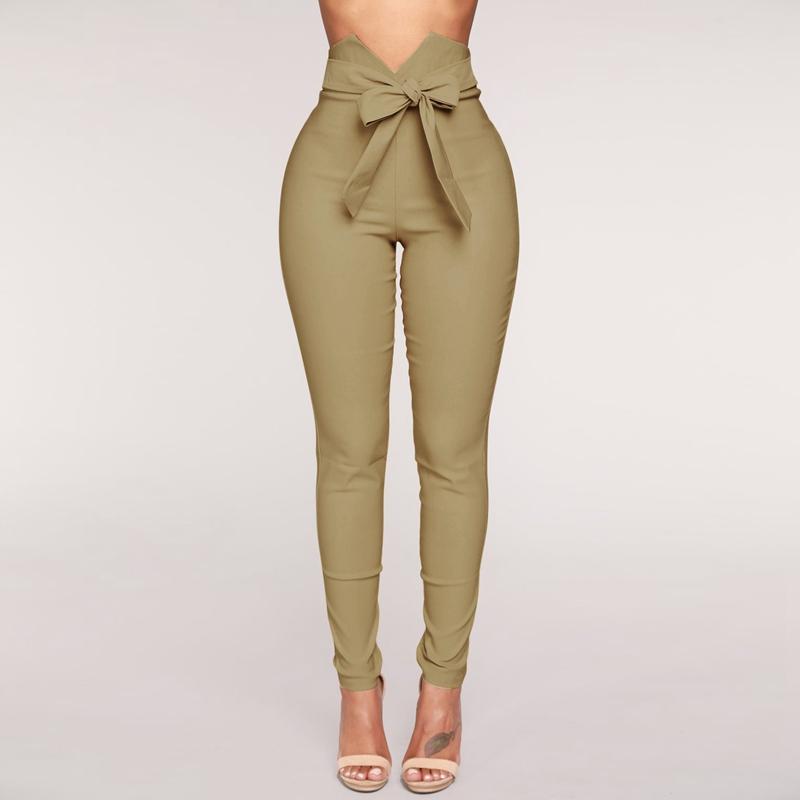 1X-Frauen-Hohe-Taille-Laessig-Hosen-Mode-Damen-Bogenken-Solide-Duenne-Duenn-R5Z2 Indexbild 12