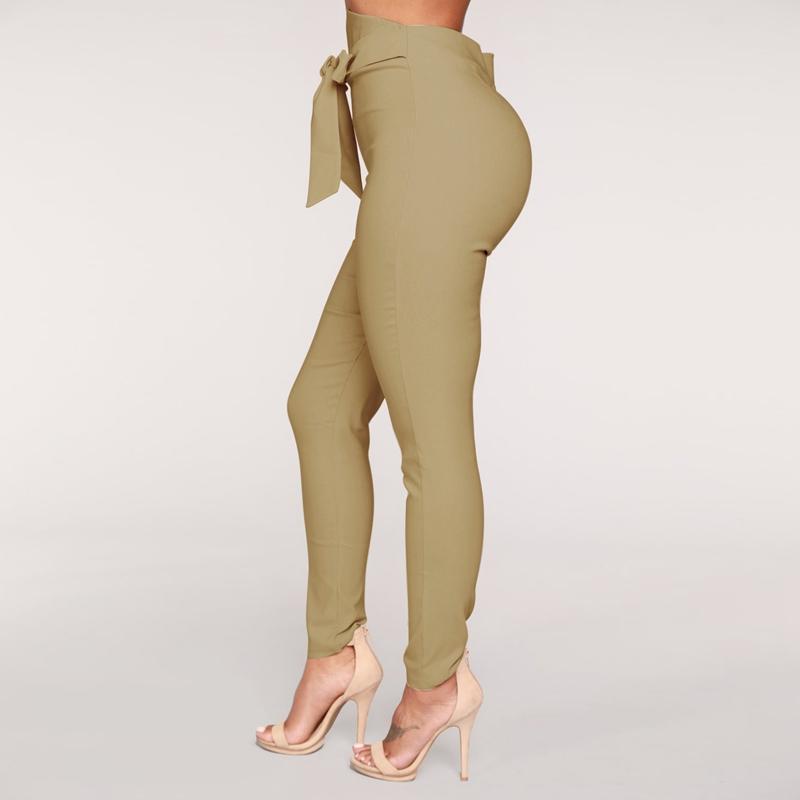 1X-Frauen-Hohe-Taille-Laessig-Hosen-Mode-Damen-Bogenken-Solide-Duenne-Duenn-R5Z2 Indexbild 13