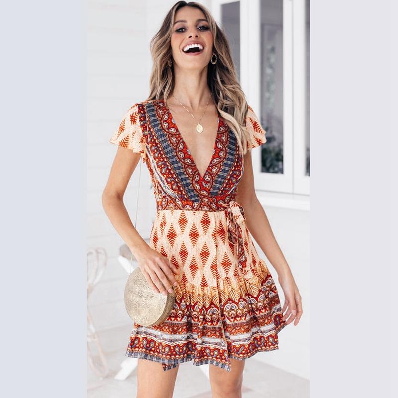 thumbnail 3 - Summer-Women-Sweet-Flower-Print-Dress-Deep-V-Neck-Short-Sleeve-Lace-Up-VintZ7S3