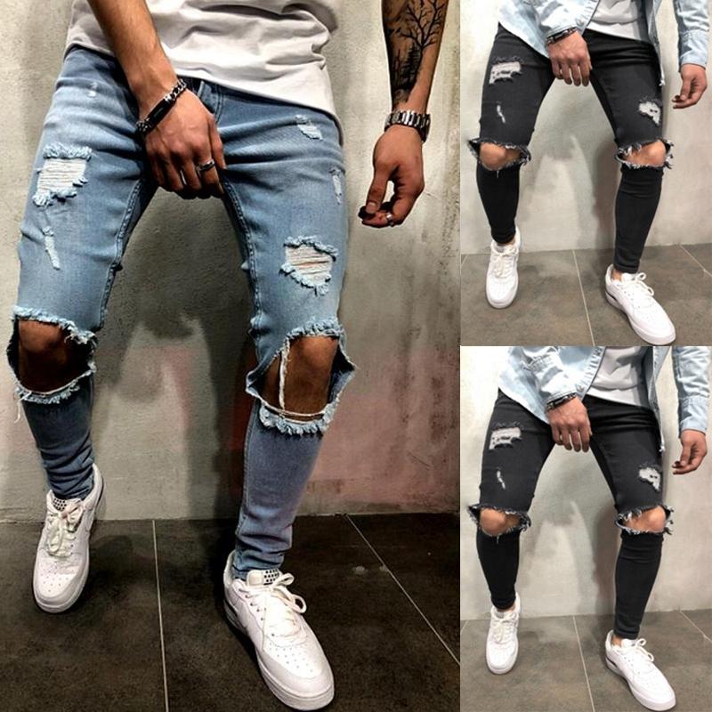 Détails sur 2X(Mode Vêtement de Rue Pour Hommes Jeans Trou Du Genou Déchiré Jeans En To D8Y8
