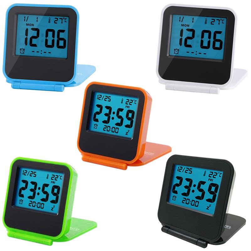 Despertador-Reloj-Alarma-Digital-De-Viaje-De-Mesa-Plegable-Portatil-Con-Tem-J8Y4 miniatura 3