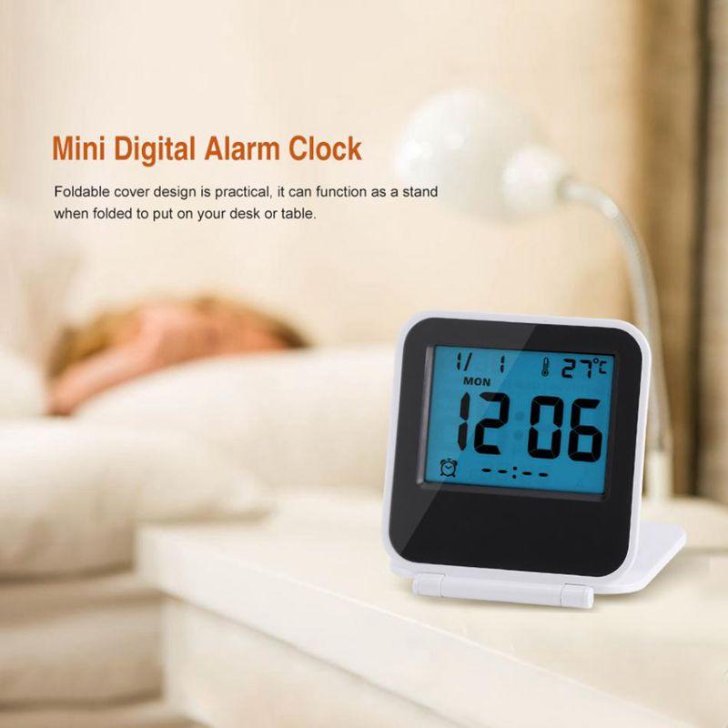Despertador-Reloj-Alarma-Digital-De-Viaje-De-Mesa-Plegable-Portatil-Con-Tem-J8Y4 miniatura 5