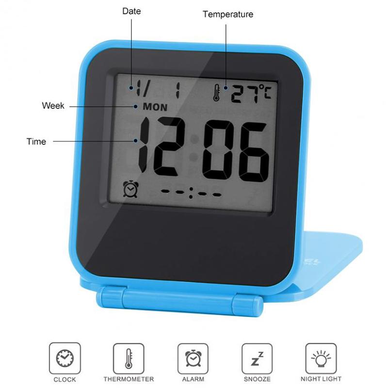 Despertador-Reloj-Alarma-Digital-De-Viaje-De-Mesa-Plegable-Portatil-Con-Tem-J8Y4 miniatura 6