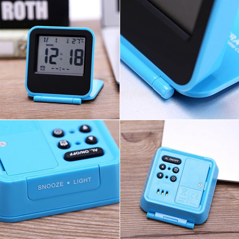 Despertador-Reloj-Alarma-Digital-De-Viaje-De-Mesa-Plegable-Portatil-Con-Tem-J8Y4 miniatura 7