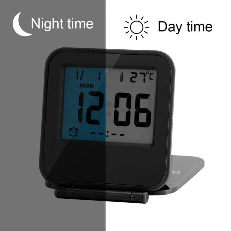 Despertador-Reloj-Alarma-Digital-De-Viaje-De-Mesa-Plegable-Portatil-Con-Tem-J8Y4 miniatura 11