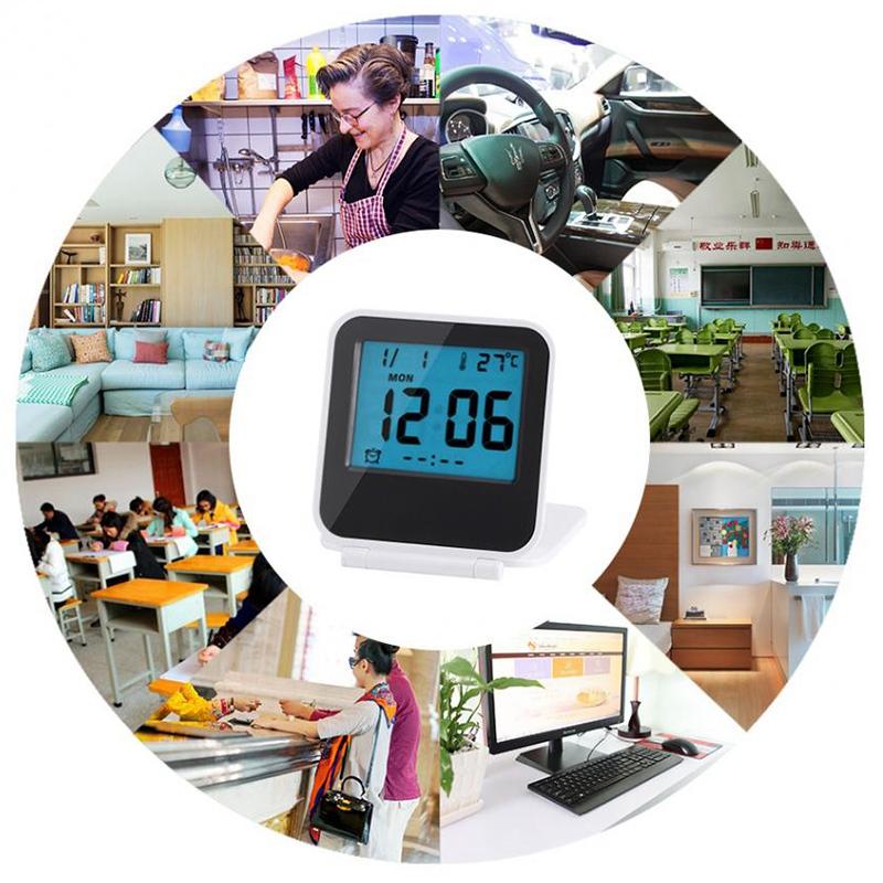 Despertador-Reloj-Alarma-Digital-De-Viaje-De-Mesa-Plegable-Portatil-Con-Tem-J8Y4 miniatura 22