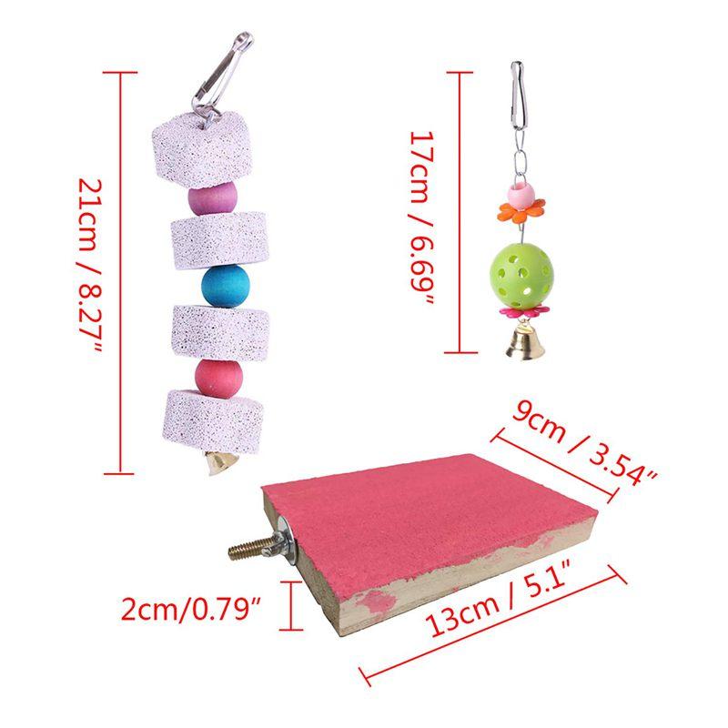 2X-Packung-Mit-5-Vogel-Kauen-Spielzeug-Vogel-Haengende-Glocke-Vogel-Leiter-H-H9C4 Indexbild 5