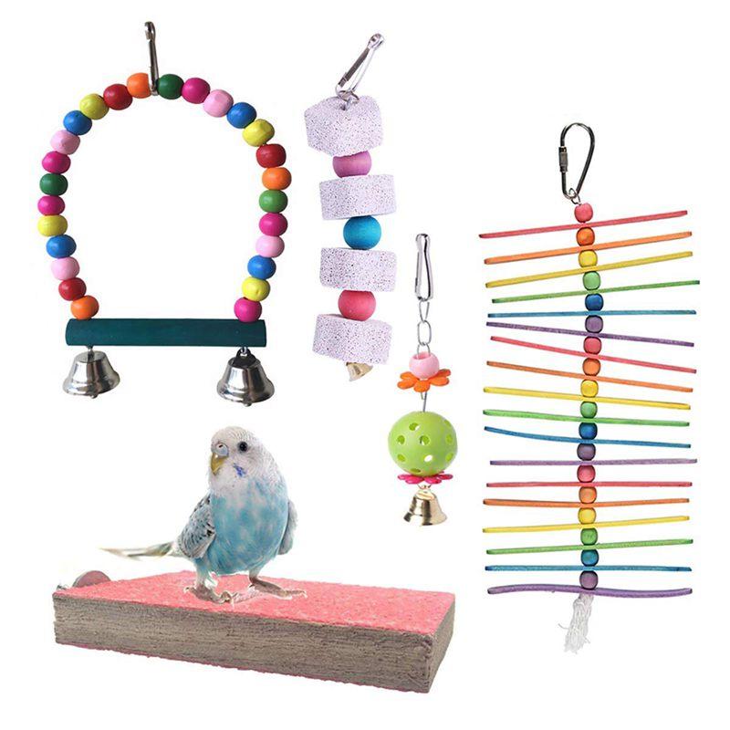 10X pacco da 5 BIRD Uccellino Giocattolo da masticare Appeso Bell Bird SCALETTA Pet Bird Cage 4F5