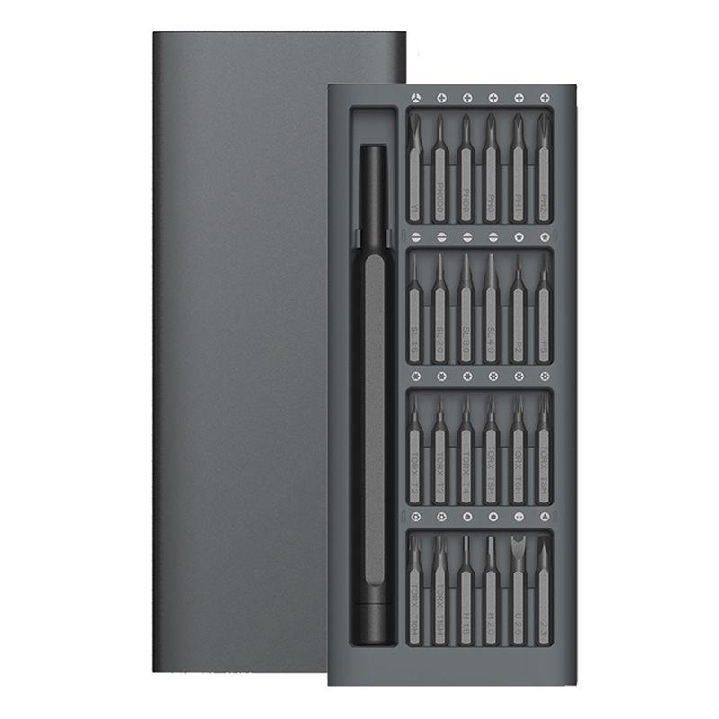 10X(Daily Use Kit 24 Precision Magnetic Bits Aluminum Box Diy Screw Driver I2G4)
