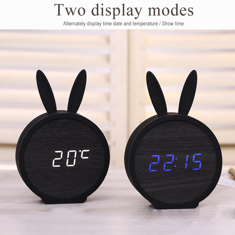 2X-Horloge-de-Table-Electronique-En-Bois-de-Silicone-de-Lapin-Mignon-Reveil-D7B8 miniature 5