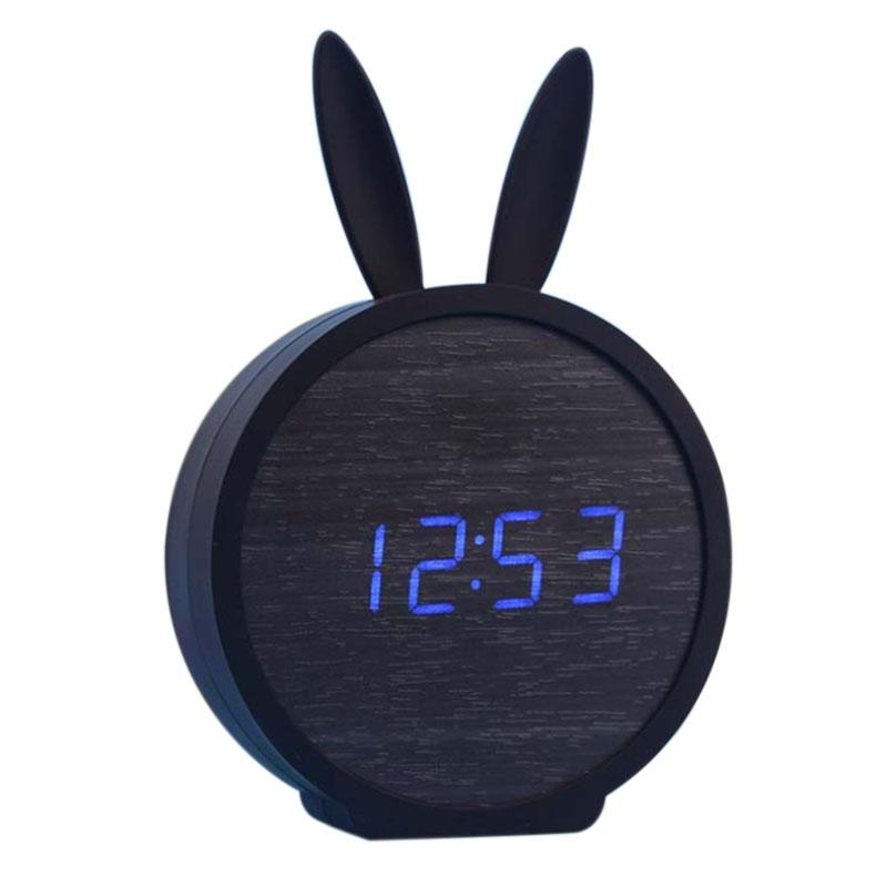 2X-Horloge-de-Table-Electronique-En-Bois-de-Silicone-de-Lapin-Mignon-Reveil-D7B8 miniature 2
