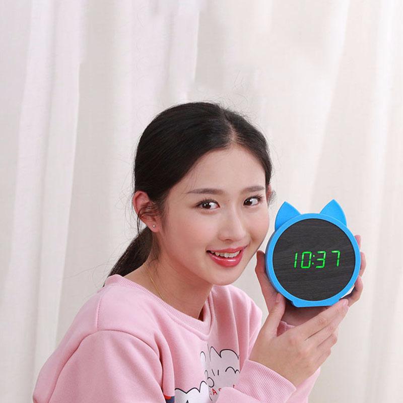 2X-Horloge-de-Table-Electronique-En-Bois-de-Silicone-de-Lapin-Mignon-Reveil-D7B8 miniature 9