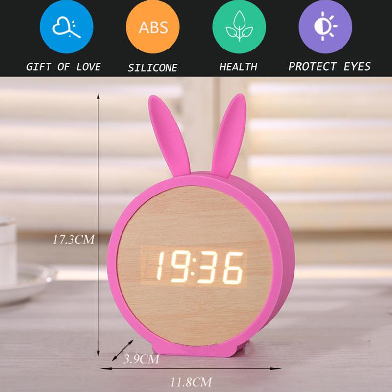 2X-Horloge-de-Table-Electronique-En-Bois-de-Silicone-de-Lapin-Mignon-Reveil-D7B8 miniature 12