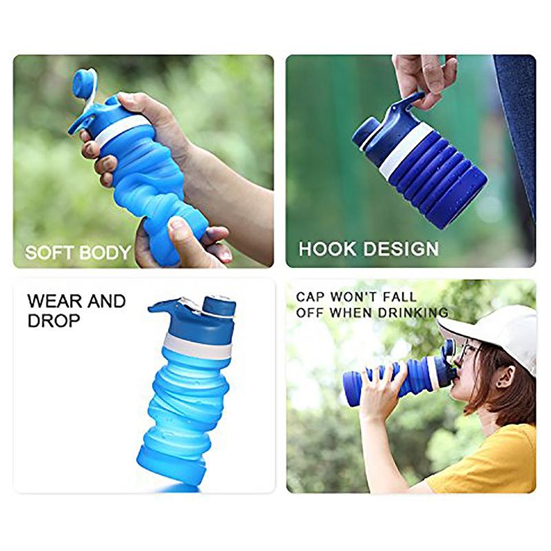 Faltbare-Wasser-Flasche-Teleskop-Wasser-Kocher-Fitness-Wasser-Flasche-550Ml-Z8S9 Indexbild 7