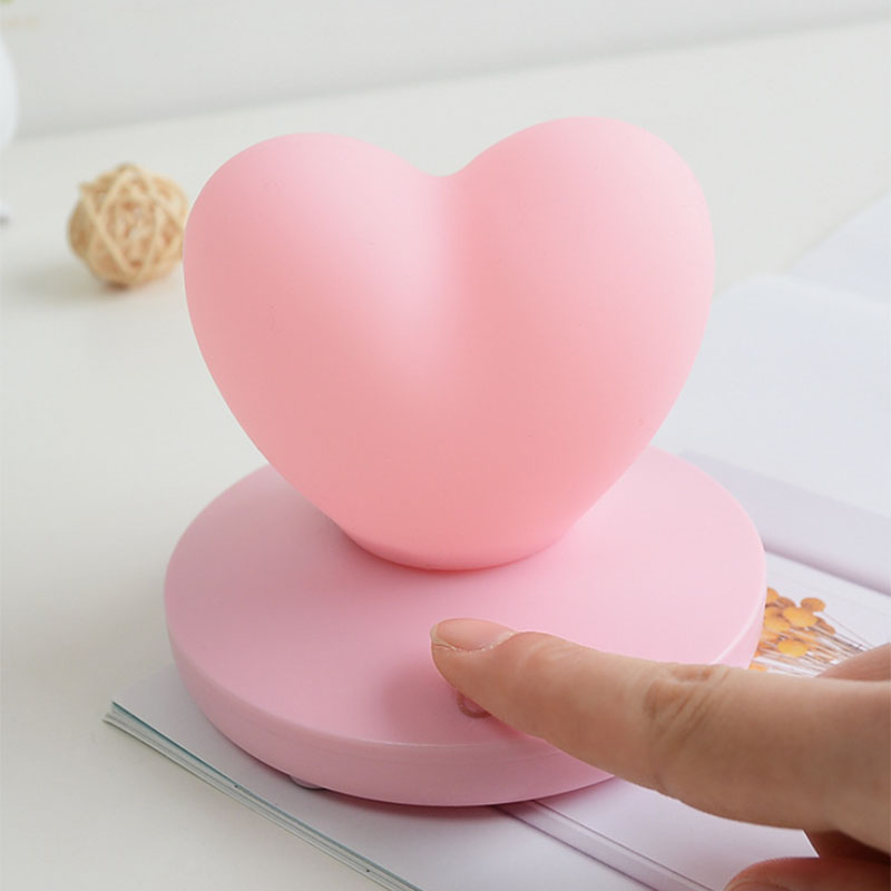 2X-Dimmable-Led-Night-Light-Lamp-Silicon-Love-Heart-For-Baby-Children-Kids-7A5 thumbnail 3