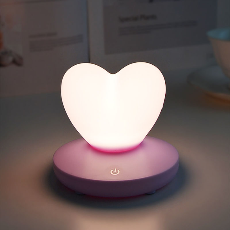 2X-Dimmable-Led-Night-Light-Lamp-Silicon-Love-Heart-For-Baby-Children-Kids-7A5 thumbnail 6