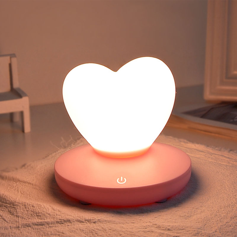 2X-Dimmable-Led-Night-Light-Lamp-Silicon-Love-Heart-For-Baby-Children-Kids-7A5 thumbnail 7