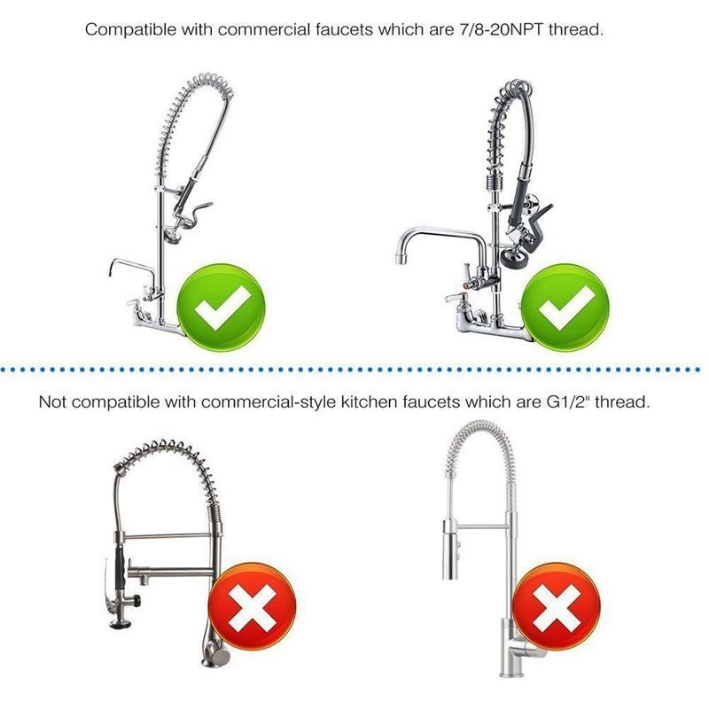 1X-Pre-Rinse-Sprayer-Commercial-Faucet-Pull-Out-Kitchen-Hand-Shower-Head-Di8B5 thumbnail 12