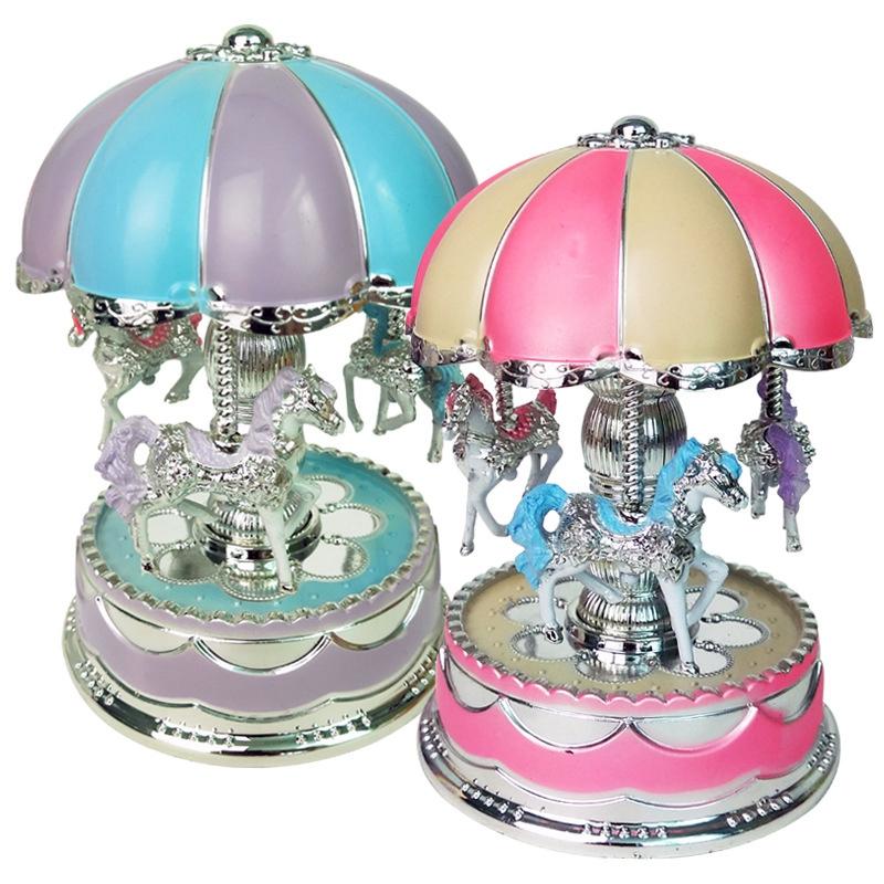 1X-Merry-Go-Round-Carousel-Music-Box-Toy-Swivel-Glowing-Carousel-Horse-Elec2G3 thumbnail 5